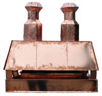 Custom stack chimney cap for with two chimney pots for clay flues.