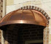 Arched Standing Seam Copper Awning w/Valance & Rivets
