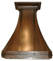 High Profile Copper Kitchen Hood with Riveted Brass Banding