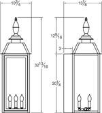 Classic Four Sided Copper Gas Light