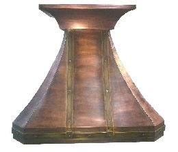 Copper French Country Kitchen Hood with Brass Banding