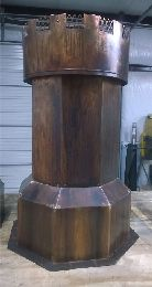 Octagonal Copper Chimney Pot with Crenelated Cap